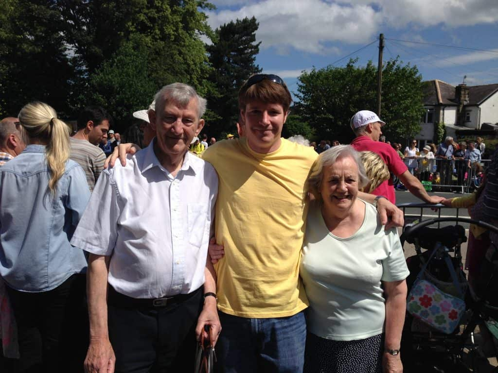 Enjoying the sunshine with Brian and Sheila at the Tour de France in Ilkley in 2014!