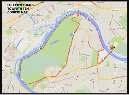 Thames Towpath 10 Route